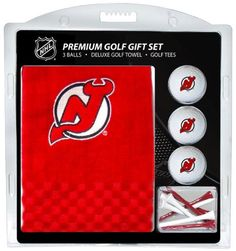 "NHL New Jersey Devils Embroidered Towel Gift Set by Team Golf. $25.00. Checkered scrubber design with bottom embroidery. Swivel clip for easy attachment and removal from golf bag. 16"" x 22"" 100-Percent cotton tri-fold embroidered towel. 12 regulation golf tees. Three regulation imprinted golf balls. Set includes the following: (1) 16"" x 22"" 100-Percent cotton tri-folded embroidered towel with scrubber pattern, swivel clip for easy bag attachment and school logo embroidery; (2) ..."