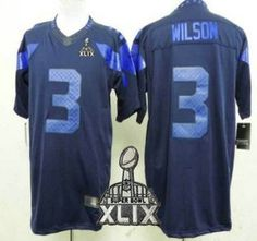 Nike Seattle Seahawks Jersey 3 Russell Wilson 2015 Super Bowl XLIX Drenched  Limited Blue Jerseys 10959a643