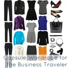 What to pack for business travel to be comfortable, professional, stylish, and ready for anything. Sample capsule wardrobe for the woman business traveler.