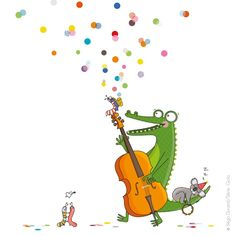 Crocodile sticker enfant jazz Quelques notes de jazz et ce sont vos murs qui se réveillent, mais tout en douceur car petit koala dort paisiblement. le sticker Jazzy c'est aussi plein de confettis pour décorer la chambre de votre enfant.