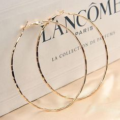 jewelry Earrings Big - Simple Gold Plated Big Hoop Earring For Women Statement Fashion Jewelry Accessories Large Circle Round Loop Earrings Big Gold Hoop Earrings, Gold Hoops, Women's Earrings, Silver Earrings, Silver Jewelry, Silver Ring, Garnet Jewelry, Swarovski Jewelry, Crystal Jewelry