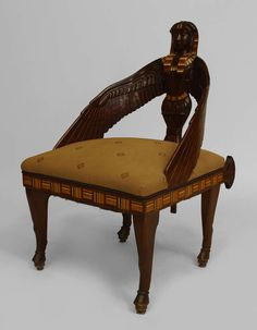 Amazing Important Set Of Four Egyptian Style English Mahogany Chairs   Each Chair  Of Carved Mahogany Having
