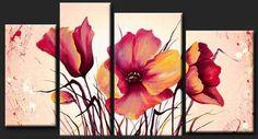 Cuadros Trípticos, Polípticos, Florales Modernos, Texturados - $ 1.089,00
