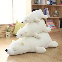 Super cute cartoon miękkie pluszowe biały/brązowy śpi niedźwiedzia polarnego zabawka lalka poduszki, Kreatywny prezent urodzinowy i edukacji dla dzieci w