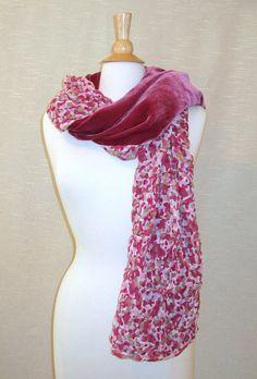 Vintage silk scarf Velvet scarf Long by PastPiecesVintage on Etsy