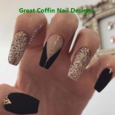 Amazing and Beautiful Nail Art Designs for Summer in 2019 - Page 14 of 20 Nail, , Stylish Nails, Trendy Nails, Matte Nails, Pink Nails, My Nails, Gold Gel Nails, Sparkly Nails, Matte Pink, Black Glitter Nails