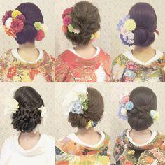 """332 Likes, 3 Comments - R.Y.K   Vanilla Emu (@ry01010828) on Instagram: """"和装ヘアまとめ 髪質や髪色などを含めて 髪型を決めるのをオススメします! お花も沢山ご用意しております! #ヘア #ヘアメイク #ヘアアレンジ #結婚式 #結婚式ヘア #振袖 #ブライダル…"""""""