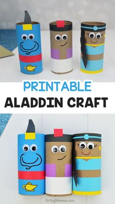 Disney Crafts For Kids, Crafts For Teens To Make, Diy And Crafts, Disney Princess Crafts, Toilet Roll Craft, Toilet Paper Roll Crafts, Disney Aladdin, Genie Aladdin, Disney Disney