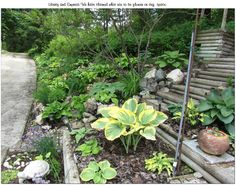 Just past the Hillside Hasta Garden is the Pole garden designed by Myrle Constructed by her husband Mike,,,,