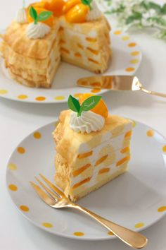 Mango 's rare cheese mill crepe Sweet Recipes, Real Food Recipes, Cake Recipes, Dessert Recipes, Yummy Food, Eat This, Cute Desserts, Cafe Food, Aesthetic Food