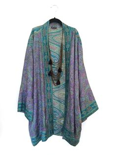 Silk Kimono jacket oversized / cocoon cover up turquoise and lilac