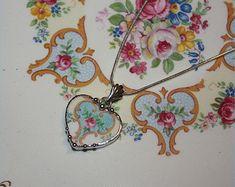Broken China Jewelry, Pink Rose Liberty China Heart, Sweet and Petite Heart Pendant Necklace