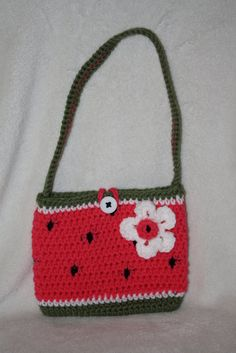 Watermelon purse. Child size. Crochet. by TracyplusCrochet on Etsy, $15.00