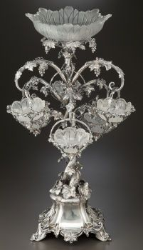 A Thomas Bradbury & Sons Silver-Plated And Cut Glass Figural Epergne