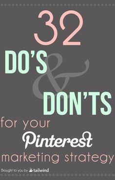 SOCIAL MEDIA -         32 Do's and Don'ts for Your B2B Pinterest Strategy #socialmedia #marketing #pinterest