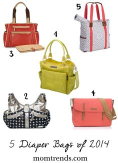 5 Trendy Diaper Bags. Florals, prints and metallics for the chic expecting mom.