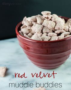 Crunchy Muddy Buddies coated in red candy melts and white chocolate, tossed in red velvet cake mix! An addictive snack – you won't be able to stop! Chocolate Coating, Melting Chocolate, White Chocolate, Red Velvet Cake Mix, Snack Recipes, Snacks, Red Candy, Candy Melts, Tossed
