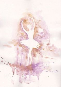 Ballet art illustration ballerina PRINT my original watercolor painting 8x11. More Purple. $20