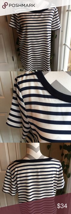 Ann Taylor Striped top NWOT.  Never worn!  Navy/off white with navy banded trim around collar.   22 pit to pit.  Gorgeous! Ann Taylor Tops
