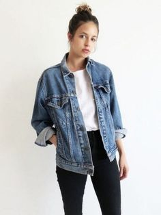 How to wear fall outfits jean jackets 21 Ideas - Jean jacket outfits fall - Mode Outfits, Fall Outfits, Casual Outfits, Women's Casual, Denim Outfits, Basic Outfits, Outfits With Black Jeans, Denim Ootd, Casual Mom Style