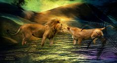 Lion Lovers Are they saying hello Or goodbye?  This mixed media painting of a male and female lion nuzzling noses as they stand in moonlit water, is from the Beauty In Nature collection by Carol Cavalaris.