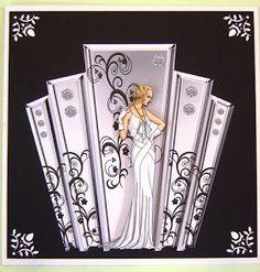 Deco Style Panels With Art Deco Lady - Kunstunterricht Birthday Cards For Women, Handmade Birthday Cards, Handmade Cards, Art Nouveau, Debbie Moore, Art Deco Cards, Tattered Lace Cards, Art Deco Stil, Bee Crafts