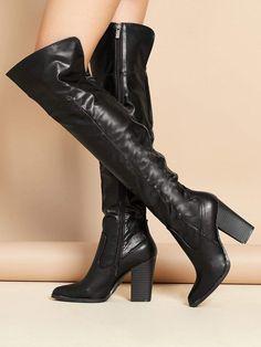 976a792b542 Elegant Point Toe Plain OTK Thigh High Side zipper Black High Heel Chunky  Over The Knee Stacked Heel Almond Toe Boots