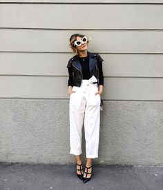 Visibly Interesting: black and white with high waisted pants || @sommerswim