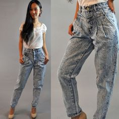 98839a353850e 80s vintage high waisted jeans ACID WASH Denim Jeans Chic Vintage Blue Jeans  w  pleated