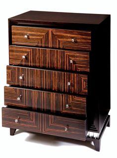 Art Deco Macassar Ebony Tallboy   Shilou Furniture