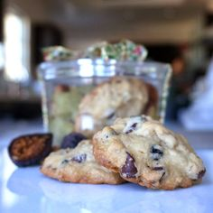 fig dark chocolate walnut cookies