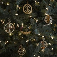 3-D Steampunk Gear Christmas Ornament Set of 6 - Perfect for Steampunk and Industrial Themes