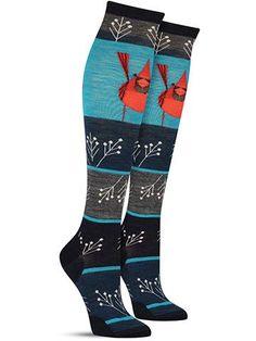 Charley Harper Cardinal Knee High Wool Socks   Womens