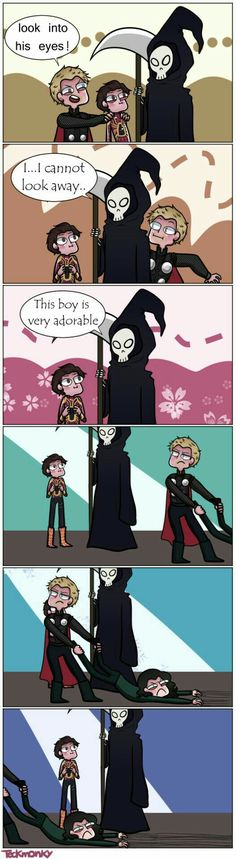 Thor and Peter visit death to save Loki pt. Loki doesn't want to leave! Funny Marvel Memes, Marvel Jokes, Dc Memes, Funny Comics, Funny Memes, Hilarious, Marvel Avengers, Hero Marvel, Marvel Dc Comics