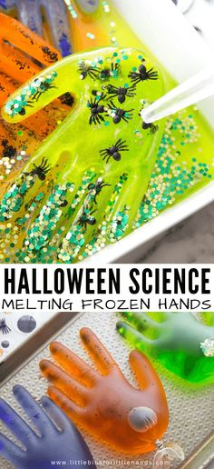Turn an ice melting activity into a creepy fun Halloween melting ice experiment this month! Create your own spooky frozen hands and explore how ice melts. Science Halloween, Sac Halloween, Halloween Arts And Crafts, Happy Halloween, Halloween Activities For Kids, Theme Halloween, Halloween Theme Preschool, Halloween With Toddlers, Toddler Halloween Crafts