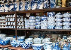 A blue & white store in Bangkok.