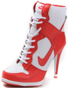 a2153c57c5e6 Womens White and Red Nike Heels Dunk SB High Christian Louboutin Shoes