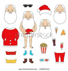 Creator Santa Claus set with clothes, faces, fast food, glasses. have fun in the New Year's/Christmas holiday .