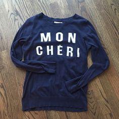 "Banana Republic ""mon cheri"" sweater size S Adorable, navy ""MON CHERI"" banana republic sweater. Size Small. 100% cotton. Great condition Banana Republic Sweaters Crew & Scoop Necks"