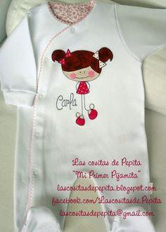 Las cositas de Pepita: Camisetas y Bodys pintados a mano. Dress Painting, Fabric Painting, Painted Clothes, Applique Designs, Embroidery Applique, Diy Fashion, Pretty Dresses, Baby Dress, Cute Girls