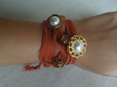 Wrap around sheer ribbon bracalet/ necklace with pearl by BeeLiv