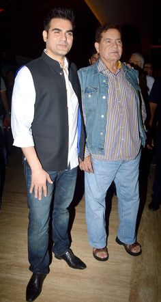 Arbaaz Khan with father Salim Khan at the first look launch of 'Dolly Ki Doli'. #Bollywood #Fashion #Style #Handsome