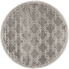 Safavieh Amherst Gray/Light Gray Round Indoor/Outdoor Machine-Made Moroccan Area Rug (Common: 9 x 9; Actual: 9-ft W x 9-ft L x 9-ft Dia)