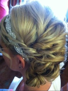 Bohemiem style side bun  www.weddingsbycrystal.com