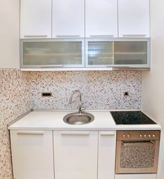 This super small kitchen is the norm in many european apartments. they really know how to make the most of a small space. specially-sized appliances and White Ikea Kitchen, Small Kitchen Sink, White Kitchen Appliances, White Kitchen Backsplash, Small Sink, Kitchen Cabinet Colors, Grey Kitchens, White Kitchen Cabinets, Kitchen Sinks