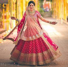 Indian bridal dupatta draping 25 ideas for 2019 Red Wedding Lehenga, Pink Bridal Lehenga, Latest Bridal Lehenga, Indian Wedding Gowns, Indian Bridal Lehenga, Indian Gowns Dresses, Bridal Lehenga Choli, Bridal Dresses, Bollywood Lehenga