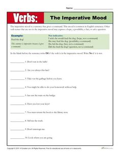 Practicing Verb Worksheet - The Imperative Mood