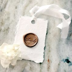 Thank You Wax Seal Favor Tags on Deckled Edge Cotton Paper, Rose Gold Wax Seal Thank You Tag, Set of 4 Wax Stamp Favor Tags Wedding Favor Tags, Wedding Invitation, Wedding Bottles, Seal Design, Wax Seal Stamp, Paper Tags, Christmas Wrapping, Bridal Shower Gifts, Gift Tags