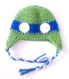 newborn ninja turtle hat (blue) $15