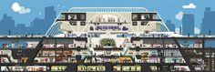 Plata Laus 2012 | Dirección de arte en ilustración |  Título: Monocle Train Station |  Autor: Hey |  Cliente: Monocle